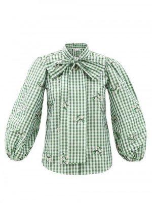 Matchesfashion REDValentino - Pussy-bow May Lily-print Ginham Taffeta Blouse - Womens - Green