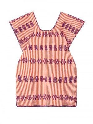 Matchesfashion Pippa Holt Kids - No. 15 Embroidered Kaftan - Womens - Orange Multi