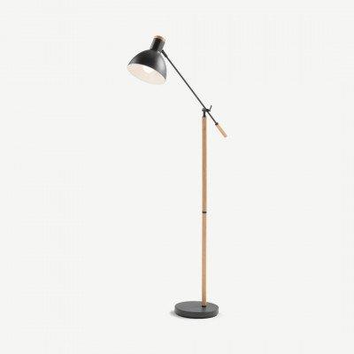 MADE.COM Cohen staande lamp, diepgrijs en Amerikaanse eik