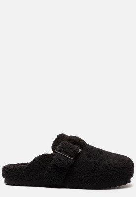 Colors of California Colors of California Furry Sabot pantoffels zwart