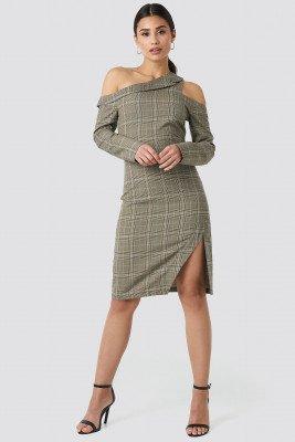 NA-KD Trend NA-KD Trend Cold Shoulder Cut Out Midi Dress - Green,Multicolor