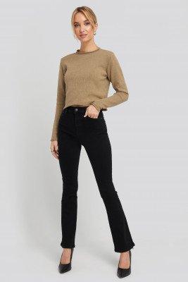 NA-KD NA-KD Recycled Split Hem Skinny Jeans - Black