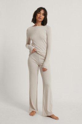 NA-KD Basic NA-KD Basic Soft Ribbed Wide Basic Pants - Grey