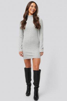 NA-KD Diagonal Rib Dress - Grey