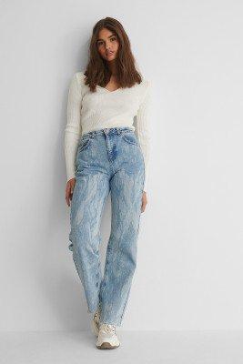 NA-KD Reborn NA-KD Reborn Laser Tie Dye Straight Jeans - Blue