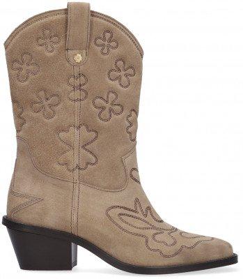 Fabienne Chapot Beige Fabienne Chapot Enkelboots Jolly Mid High Embroidery Boot