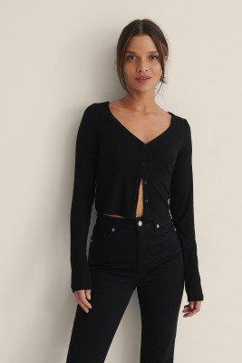 NA-KD NA-KD Vest Met Knopen - Black
