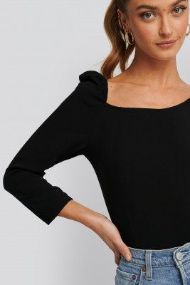 NA-KD Trend NA-KD Trend Square Neck Puffy Sleeve Top - Black