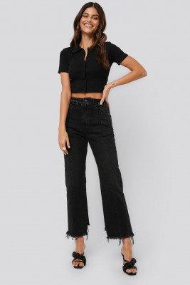 NA-KD NA-KD Raw Edge Straight Jeans - Black