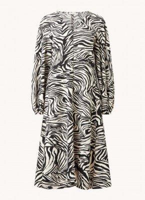 STINE GOYA STINE GOYA Rosen midi jurk met zebraprint