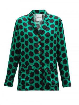 Matchesfashion Halpern - Polka-dot Satin Shirt - Womens - Green Print