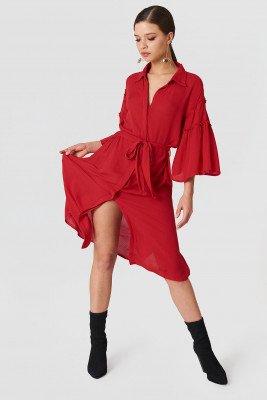 NA-KD Boho Flounce Sleeve Shirt Dress - Red
