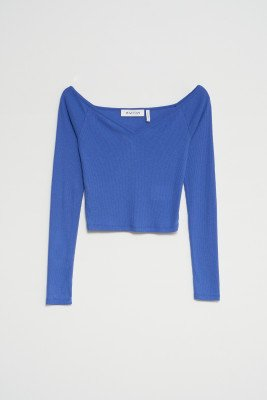 nu-in Off Shoulder Heart Neck Rib Top / S / Blue