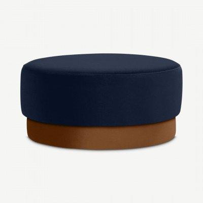 MADE.COM Volta poef, groot, interstellair blauw en kanneel fluweel