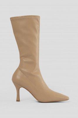 NA-KD Shoes NA-KD Shoes Smalle Laarzen Met Lange Neus - Beige