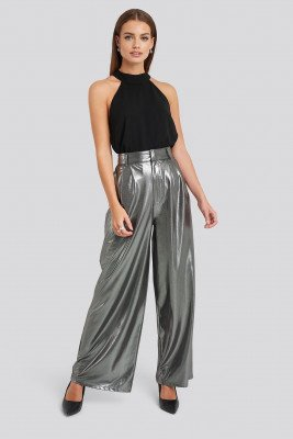 NA-KD Party NA-KD Party High Waist Front Pleat Wide Leg Pants - Silver