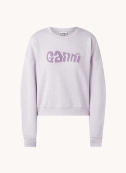 Ganni Ganni Cropped sweater met logoborduring