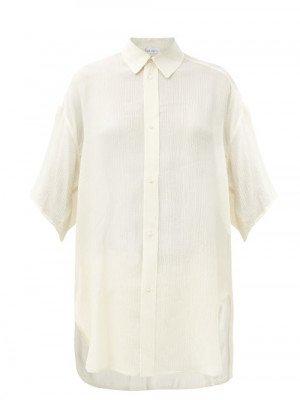 Matchesfashion Raey - Wide-sleeve Curved-hem Silk Shirt - Womens - Ivory