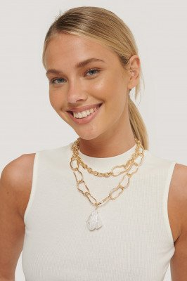 NA-KD Accessories Oversize Parellook Ketting - Gold