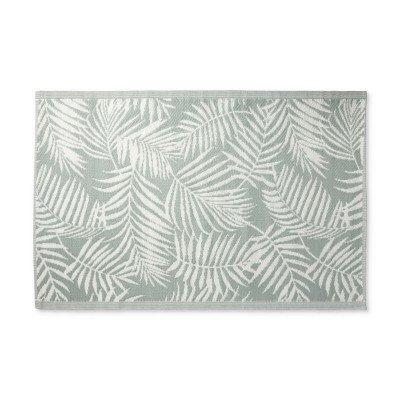 Xenos Buitenkleed leaves - grijsgroen/wit - 120x180 cm