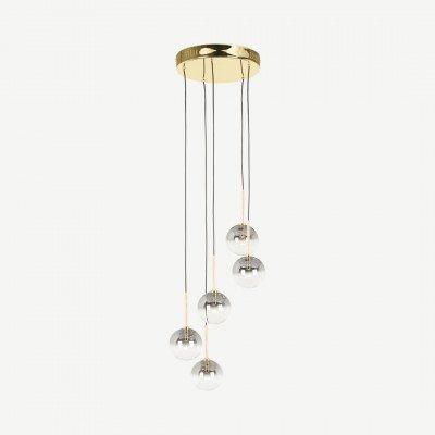 MADE.COM Onyx LED hanglamp, messing en grijs ombre glas