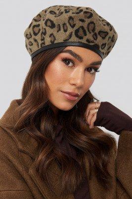 NA-KD Accessories Leopard Beret Hat - Multicolor
