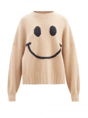 Joostricot - Smiling Face-embroidered Merino Wool-blend Sweater - Womens - Camel