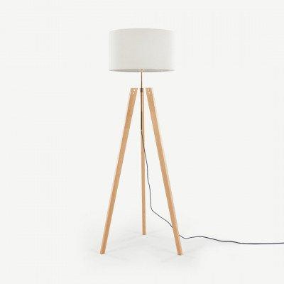 MADE.COM Irvin staande lamp, grijsbruin en natuurlijk hout