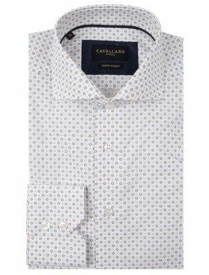 Cavallaro Napoli Cavallaro Napoli Heren Overhemd - Gabriele Overhemd - Wit Blauw