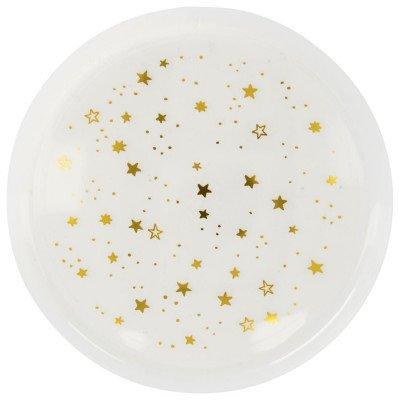 HEMA HEMA Plastic Borden Herbruikbaar 22.5cm Gouden Sterren - 4 Stuks (goud)