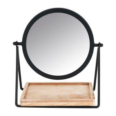 Xenos Make-up spiegeltje met plankje - zwart - 19x14x21 cm