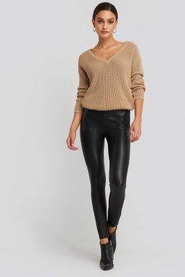 NA-KD NA-KD Seam Detail PU Pants - Black