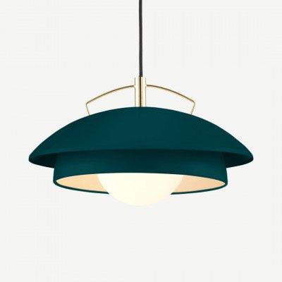 MADE.COM Brunswick gelaagde hanglamp, groen en messing