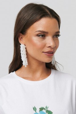 NA-KD Accessories Pearl Dropping Earrings - White