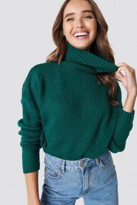NA-KD NA-KD Folded Oversize Short Knitted Sweater - Green