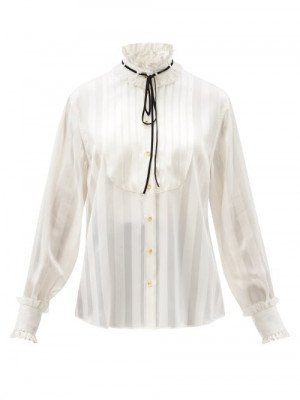Matchesfashion Dolce & Gabbana - High-neck Stripe-jacquard Silk-blend Blouse - Womens - White
