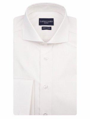 Cavallaro Napoli Cavallaro Napoli Heren Overhemd - Matrimonio Herringbone Overhemd - Off white