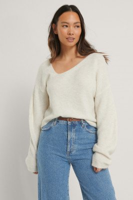NA-KD Asymmetric Neckline Knitted Sweater - Offwhite