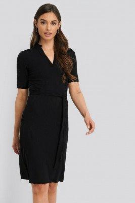 NA-KD NA-KD V-Neck Jersey Midi Dress - Black