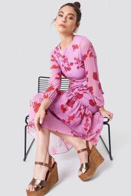 Trendyol Long Sleeve Printed Ruffle Dress - Pink