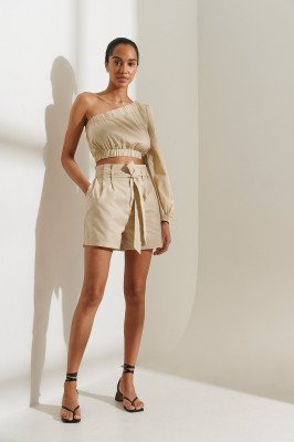 Curated Styles Curated Styles Gemaakt Uit Linnen Short - Beige
