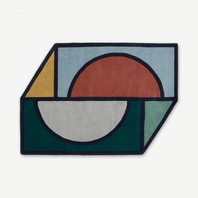 MADE.COM Supermundane vloerkleed van wol, groot 160 x 230 cm, blauw, groen en rood