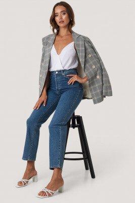 NA-KD NA-KD Rechte High Waist Jeans - Blue