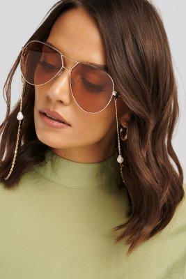NA-KD Accessories Pearl Sunglass Chain - Gold