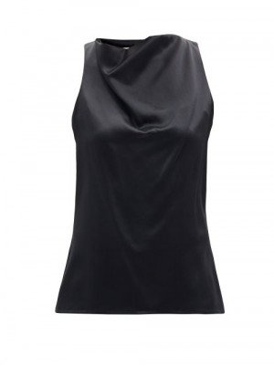 Matchesfashion La Collection - Pheadra Cowl-neck Silk-satin Blouse - Womens - Black