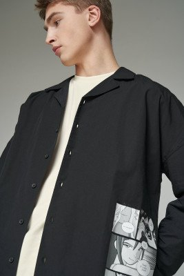 Gallucks for nu-in 100% Organic Front Print Open Collar Boxy Shirt