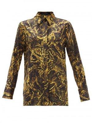 Matchesfashion Proenza Schouler - Abstract-print Silk-satin Shirt - Womens - Black Multi