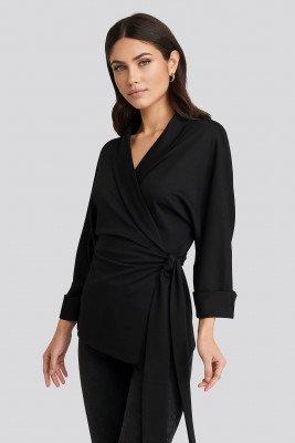 NA-KD Trend NA-KD Trend Belted Wrap Lounge Jacket - Black