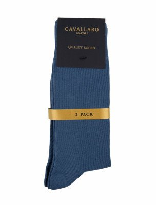 Cavallaro Napoli Cavallaro Napoli Heren Ondershirts - Socks 2-pack Mid Blue OS - Blauw