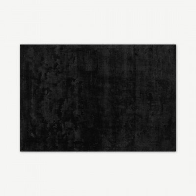 MADE.COM Merkoya Luxury vloerkleed van viscose, groot 160 x 230cm, zwart